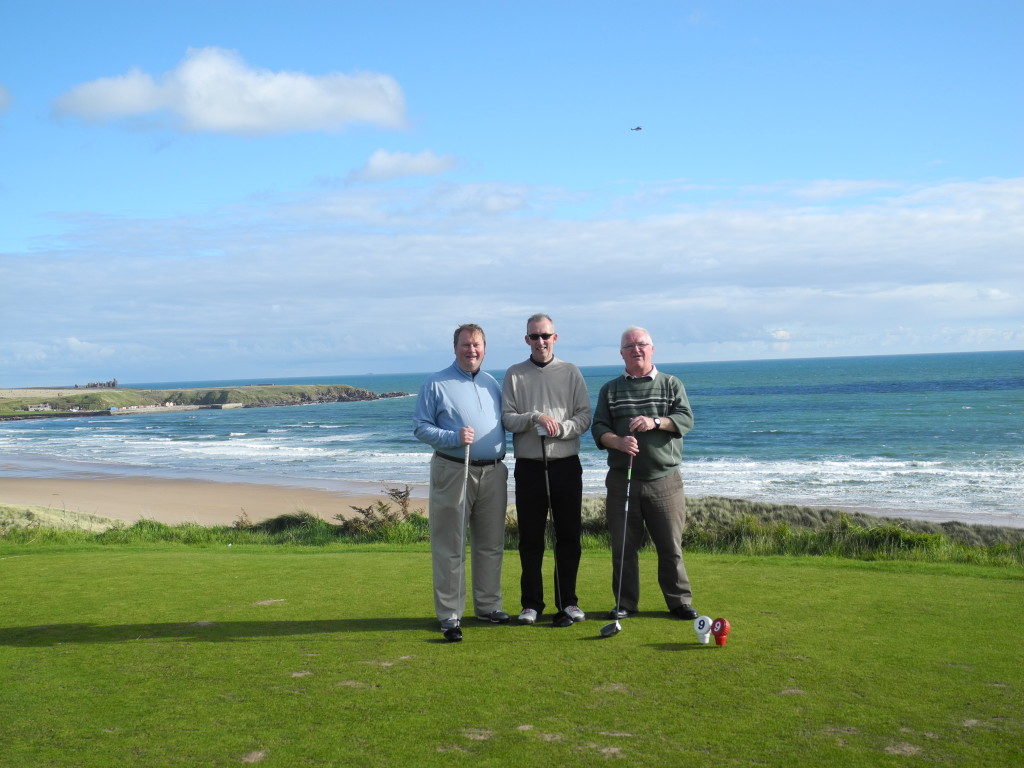 Tad at Cruden Bay playing with members